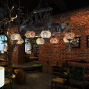 8 Lights Sphere Chandelier Lighting Bohemia Iron Stained Glass Suspension Pendant for Restaurant