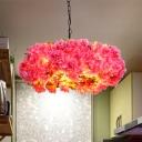 Metal Pink Hanging Chandelier Floral 5 Heads Antique LED Drop Pendant for Restaurant, 21.5