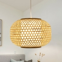 Chinese 1 Head Pendant Lighting Beige Lantern Ceiling Hanging Light with Bamboo Shade