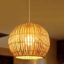 Spherical Ceiling Light Japanese Bamboo 1 Head Beige Pendant Lighting Fixture, 16