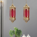 Brass 1 Light Ceiling Hang Fixture Vintage Red Glass Geometric Pendant Lighting for Dining Room