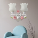 2 Bulbs Wall Sconce Lighting Traditional Floral White Glass LED Wall Light Fixture