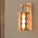 Beige Tube Sconce Asia 1 Bulb Wood Wall Mounted Lighting with Inner Parchment Shade