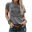 Summer Popular SCHRUTE FARMS Printed Short Sleeves Round Neck Basic Graphic T-Shirt