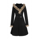 Winter Fashion Long Sleeve Alloy Leather Buckle Long Sleeves Fur Trim Longline Hooded Wool Coat