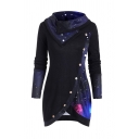 Unique Galaxy Print Cowl Neck Long Sleeves Tulip Hem Button Decorated Slim Fit Longline T-Shirt