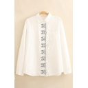 Lovely Embroidered Cat Printed Button Down Chest Pocket Oversized Striped Shirt for Girls