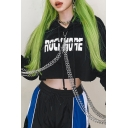 Cool Letter ROCK MORE Printed Long Sleeves Chain Decoration Black Cropped Hoodie