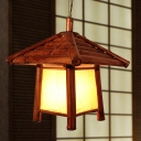 House Hanging Lamp Asian Wood 1 Head Brown Pendant Light Fixture for Dining Room