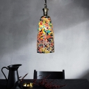 1 Head Pendant Lighting Vintage Cylinder Red/Yellow/Blue Stained Glass Shade Hanging Lamp Fixture