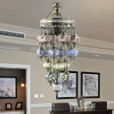 Bronze 19 Heads Chandelier Lighting Traditional Blue Stained Glass Oval Hanging Lamp