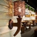 Armed Wood Sconce Light Chinese 1 Bulb Brown Wall Mounted Lamp with Tubular Rattan Shade