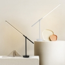 Contemporary Linear Task Light Metal LED Night Table Lamp in Black/White with Rotating Node