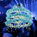 Industrial Round Pendant Light Fixture 6 Bulbs Metal LED Flower Hanging Lamp Kit in Blue with Crystal, 31.5