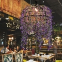 Blossom Restaurant Ceiling Lamp Industrial Metal 1 Head Purple LED Suspension Light