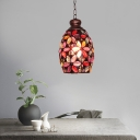 Metal Rust Hanging Pendant Dome/Globe/Flower 1 Head Traditional Suspension Lamp for Living Room