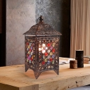 Black/Brass 1 Head Night Lighting Traditional Metal Pavilion Nightstand Light for Living Room