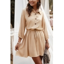 Plain Blouson Sleeves Lapel Collar Button Closure Tie Waist Mini Loose Shirt Dress