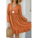 Exclusive Fringe Drawstring Design Long Sleeve High Waist Ruffle Hem Solid Color Midi A-Line Dress