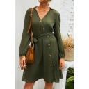 Army Green Long Sleeves V-Neck Button Closure Tie Waist Plain Midi A-Line Dress for Ladies