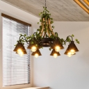 Conical Metal Chandelier Light Industrial 6/8 Bulbs Restaurant LED Hanging Lamp in Black with Plant