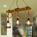 3 Lights Island Lighting Warehouse Caged Metallic Pendant Light in Black for Dining Room