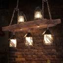 Black 5 Lights Island Light Fixture Vintage Wood Kerosene Billiard Lamp for Dining Room