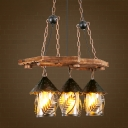 Clear Glass/White Fabric House Billiard Light Antiqued 2/3 Lights Dining Room Island Chandelier