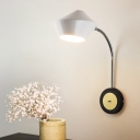 Curved Arm Wall Lighting Modernist Metal 1 Head Black and White Sconce Light Fixture