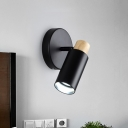 Metal Tubular Sconce Contemporary 1 Head Black Wall Mounted Light Fixture with Wood Cap