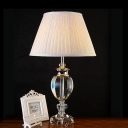 Traditionalist Conical Nightstand Light Single Bulb Fabric Table Lamp in Beige for Living Room