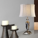 Retro Drum Table Lamp 1 Head Clear Crystal Nightstand Light in Cream Gray with Fabric Shade
