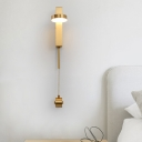 Brass Circular Wall Lamp Modernism 1 Bulb Metal Sconce Light Fixture in White/Warm Light