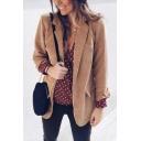 Elegant Ladies' Long Sleeve Lapel Neck Flap Pockets Relaxed Corduroy Plain Blazer