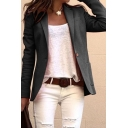 Cool Formal Ladies' Long Sleeve Lapel Collar Button Front Plain Fitted Blazer