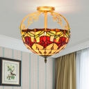 Yellow Rose Semi Flush Mount Light Tiffany Style 2 Lights Cut Glass Ceiling Mounted Fixture