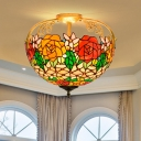 Cut Glass Orange/Beige/Brown Semi Mount Lighting Rose Bush 3 Lights Tiffany Ceiling Light Fixture