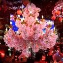 Candle Restaurant Chandelier Light Vintage Metal 12 Heads Pink Flower Pendant Lighting Fixture
