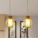 Urn Hanging Lamp Asian Bamboo 1 Head 9