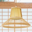 South-East Asia Trumpet Pendant Lighting Bamboo 1 Head Ceiling Hanging Light in Beige