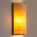 Half-Cylinder Wall Lighting Chinese Wood 2 Bulbs Sconce Light Fixture in Beige for Stairway