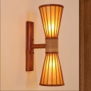 Hourglass Sconce Light Chinese Bamboo 2 Bulbs Wall Mounted Lighting in Red Brown