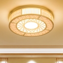 Bamboo Cylindrical Flush Light Japanese 3 Heads Close to Ceiling Lighting in Wood
