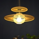 Beige Round Hanging Lamp Asia 1 Head Bamboo Ceiling Pendant Light for Dining Room