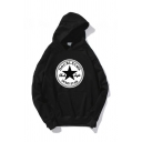 Men's Cool Five-Pointed Star Letter DOUBLECMS Printed Long Sleeve Boxy Pullover Hoodie