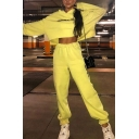 Yellow Simple THANK U NEXT Printed Long Sleeve Loose Crop Hoodie with Pants Sport Co-ords