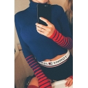 Ladies Fashion Stripe Printed Gloves Long Sleeves High Neck Slim Fit Cropped Knitted Top