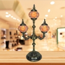 3 Bulbs Nightstand Light with Trident Design Art Deco Ball Stained Glass Shade Night Table Lamp in Blue/Beige/Orange