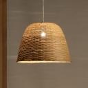Bamboo Basket Pendant Light Japanese 1 Bulb Suspended Lighting Fixture in Flaxen