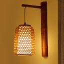 Bamboo Lantern Sconce Light Asia 1 Head Red Brown Wall Mounted Lamp with Inner Tube White Parchment Shade